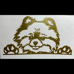 New Pomeranian Peeking Gold Vinyl Decal Sticker